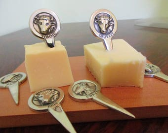 Six Vintage French Stainless Steel Cheese Markers -French Cheese Markers - Complete with Presentation Case-Cows-Sheep-Goat-Great for Parties
