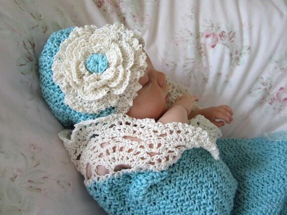 Crochet Baby Cocoon and Hat Pattern Photo Prop Pattern Seaside