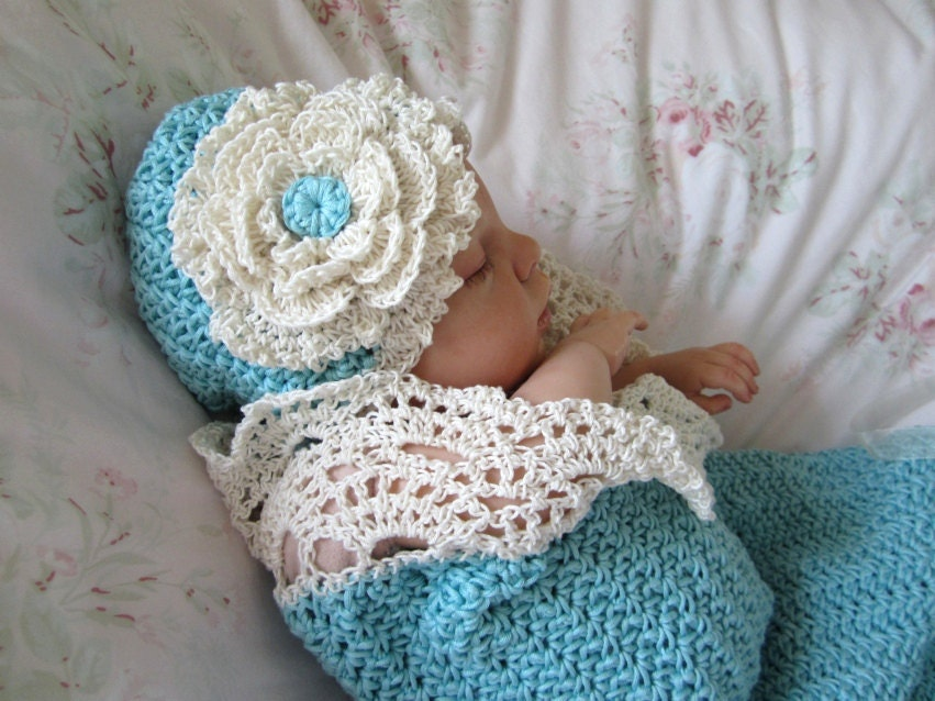 Crochet Baby Cocoon and Hat Pattern Photo Prop Pattern Seaside