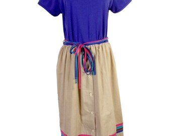 vtg 70s Toni Todd ReTrO Colorful Belted Striped Button Down Dress Colorblock 40