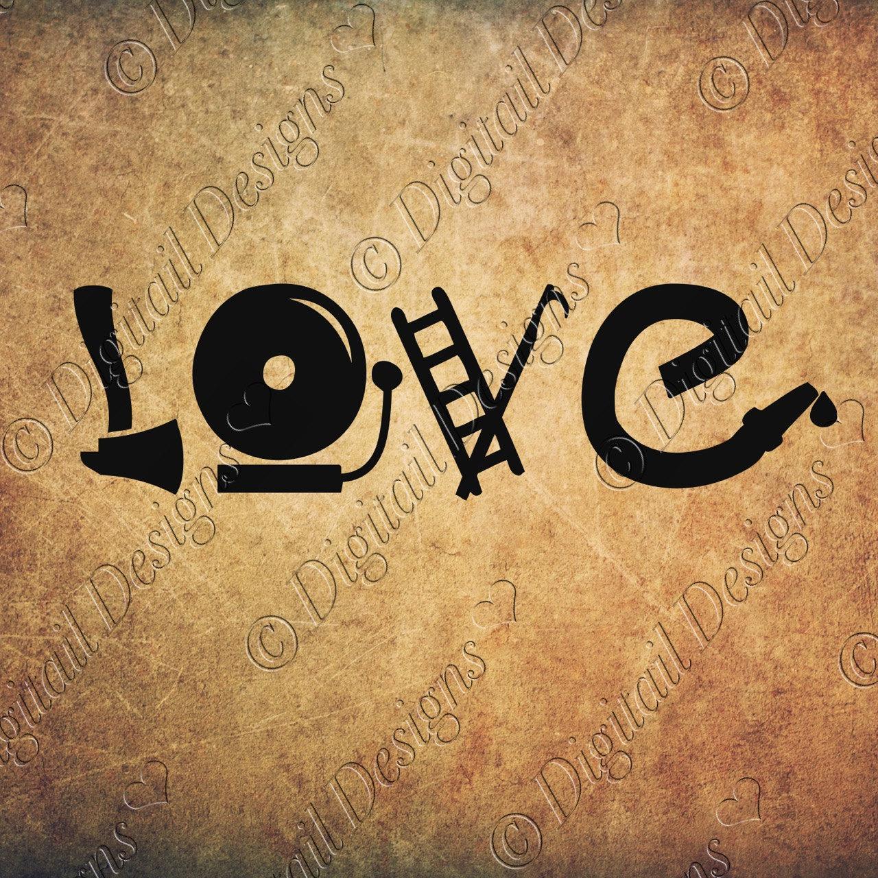Download Firefighter Love Word Art Svg Png Dxf Fcm Eps Cut File for