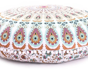 Indian Pouf Ottoman Floor Cushion Seating Area Meditation Cushion Pouf Seating Decorative Pillow Floor Pillow Seat Cushion NO FILLER INCLUDE