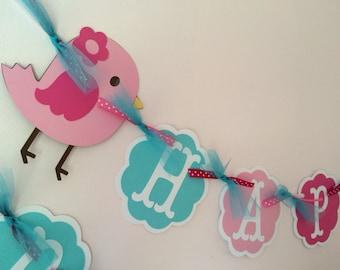 Bird Birthday Banner/ Bird Party/ 1st Birthday Party/ Pink/ Turquoise/ White/ Personalized Birthday Banner/ Customized Bird Banner/ Garland
