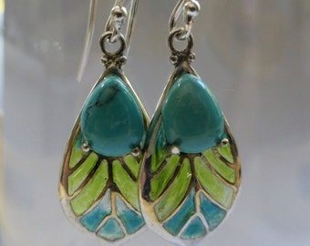 """Pair of Vintage Earrings - Leaf Shape with Turquoise Teardrop Stone and Green & Aqua """"Stained Glass"""" - Set in Sterling Silver"""