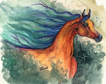 Bay arabian horse original pen and watercolor  painting