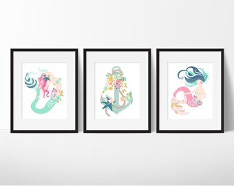 Mermaid Bathroom Art - Girls Bathroom Art - Pink Mermaids - Girly Bathroom Art - Anchor Bathroom Decor - Nautical Bathroom - Set of 3