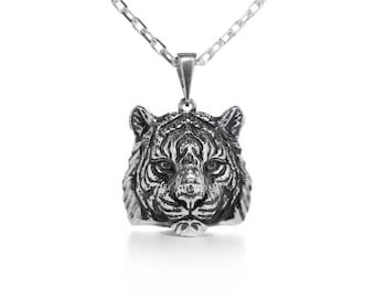 Tiger necklace Tiger jewelry Animal necklace Cat jewelry Cat pendant Wild cat jewelry Totem jewelry Silver tiger