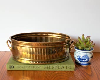 Vintage Brass Planter Vintage Brass Metal Planter Indoor Planter British Colonial Handled Planter Gold Planter Decorative Brass Planter