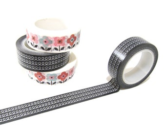 Black and White Doodle Washi Tape, Planner Washi Tape, Doodle Washi Tape 15mm x 10mt, Decorative Tape, Black and White Doodle Planner Tape