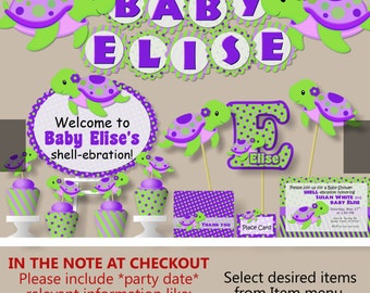 Turtle baby shower etsy turtle baby shower decorations or first birthday girl purple invitation banner cake topper filmwisefo