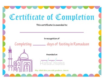 Instant download Ramadan Completion Certificate for Kids