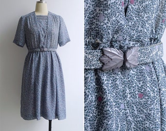 Vintage 80's Blue Triangle Yoke Ladder Eyelet Dress with Belt S or M