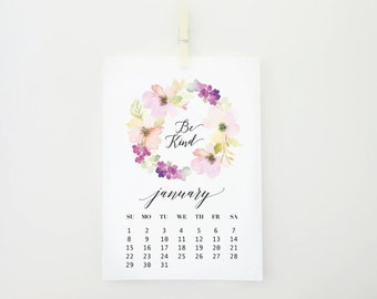 2017 Desktop Flower Calendar, 2017 Calendar, Pastels Patterns, Card Stock Paper, Modern Calendar, Christmas Gift Idea, Floral Calendar