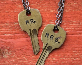 "Hand Stamped Vintage Key ""MR. & MRS."" Necklaces *Set of TWO* (#461) - Jewelry Necklace Pendant Custom"