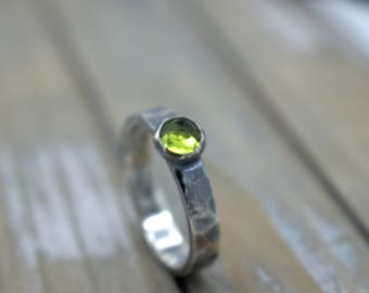 Peridot Sterling Silver Ring Band - Peridot August Birthstone Ring