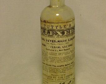 c1930s Tuttle's Elexer Elixir Special Veterinary Liniment Boston, Mass. , Labeled Medicine Bottle, Drug Store Decor