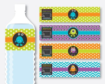 Instant Download, Monster Water Bottle Labels, Monster Water Bottle Wrappers, Monster Stickers, Monster Party, Monster Printable (CKB.21)