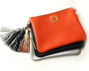 Leather crossbody bag with card pocket, Orange clutch bag, Leather wallet purse