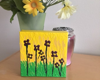 Purple  Flower Painting Textured Painting on Canvas - Palette Knife Painting - Mini Canvas Shelf Art - Purple Flowers 6 x 6 Small Painting