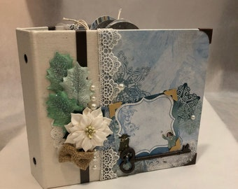 READY TO SHIP - Winter Wonderland 3-ring mini scrapbook album