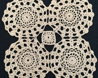 Crocheted Doily. Vintage Square Lace Doily. Small Crocheted Ecru (Natural Cotton) Colour Cotton Lace Doily. RBT2004