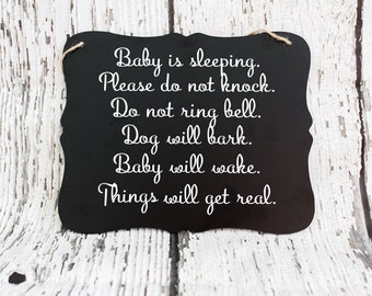 Baby Sleeping Sign // Please Do Not Knock Sign // Baby Door Sign