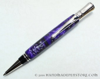 THE GREEN PLANET acrylic ball point pen with rhodium - handmade in Parker Duofold Style