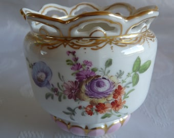 Helena Wolfsohn CROWN DRESDEN - 1870s Mark - Small Cache Pot Vase with Reticulated Rim and Hand-Painted Dresden FLOWERS and Gold Trim