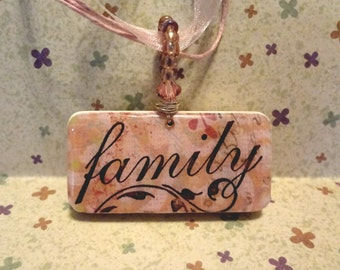 Family Values Domino Pendant with Seed Bead Bail and Crystals  Repurposed Game Tile Domino Jewelry item 1341