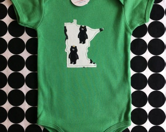 custom hipster baby onesie and tee, black bear / gold crown / bowtie, minnesota wisconsin california washington utah idaho new york ohio ...