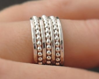 7 Stackable Rings 925 sterling silver hammered Stacking Rings thin bead rings boho stack ring set