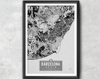 BARCELONA Spain Map with Coordinates, Barcelona Wall Art, Barcelona Map, Map Art, Map Print, Barcelona Print, Barcelona Art, Map, Wall Art