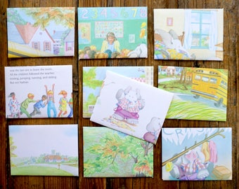 Elephant goes to School  - recycled book pages into envelopes
