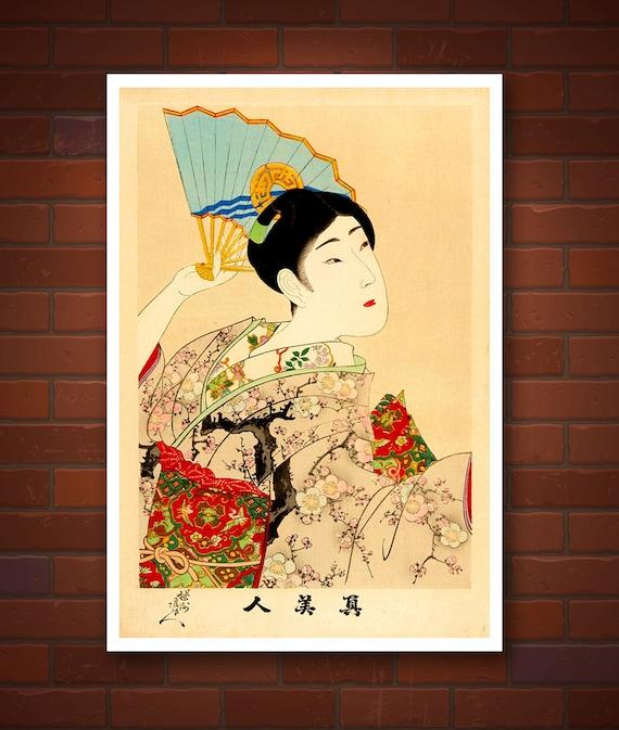 Geisha with a fan japanese art geishas paintings and