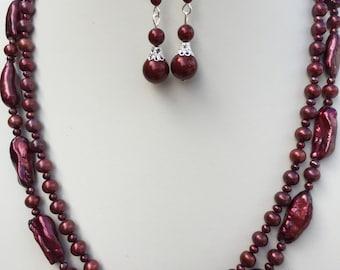 Burgundy Biwa Freshwater Pearl Multistrand Necklace