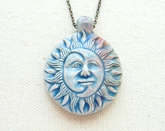 Sun and moon necklace ceramic crescent moon pendant celestial jewelry pagan jewelry hippie necklace bohemian jewelry