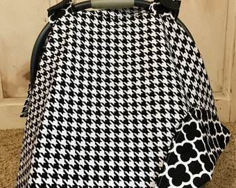 Black Houndstooth Car Seat Canopy
