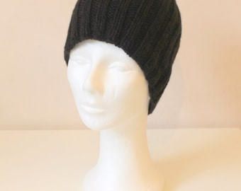 Hand knit beanie hat in brown cashmere merino for boys