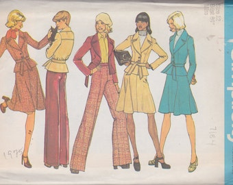Simplicity 7184 Misses' Jacket, Skirt and Wide-Legged  (Bellbottom)  Pants Size 12 Vintage UNCUT Pattern