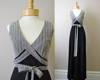 1970s Silver and Black Maxi Dress