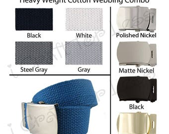 """5 - 1.25"""" Canvas Military Web Belt, Pick from 43 Colors, 6 Finishes and 12 Sizes - SEE COUPON"""