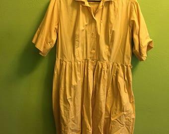 Tan cotton 1950s 50s day dress plus size xxl 46-38-open 2x