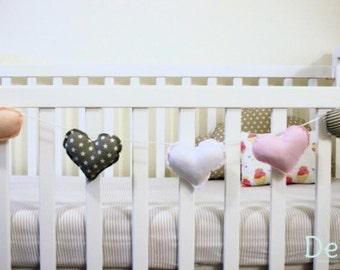 Hearts Garland    Bunting   Pink Heart   Decorative Heart   Nursery Decor   Mini Heart Pillow   Baby Room Decor   Heart Banner