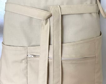 Vendor apron with zippered pocket lightweight khaki tan