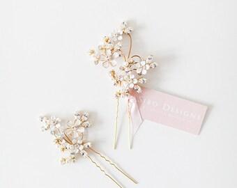 Crystal Wedding Hair pins, Gold Floral Wedding Headpiece, Crystal Bridal Hair Pins, Statement Crystal Adornment Bridal Headpiece - Style 507
