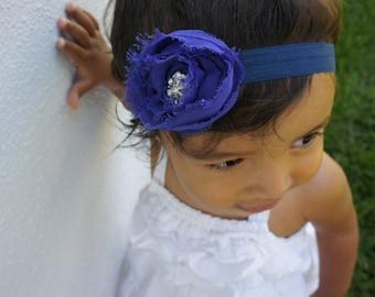 Blue Fabric Flower Headband With a Rhinestone Button, Baby Headband, Baby Girl Headband, Newborn Headband, and Girls Headband