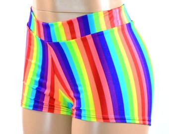 Midrise Rainbow Print Spandex Mid Rise Booty Shorts   151134
