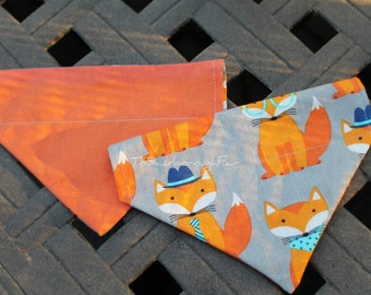 Cat or Small Dog Reversible Bandana - Halloween Bandana - Hipster Foxes - Slip Over the Collar Double Sided Bandana - Designer Fabric