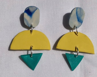 POOL SIDE • polymer clay statement earrings • one of a kind
