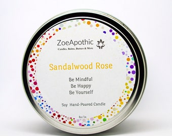 Sandalwood Rose Hand-Poured Soy Candle